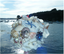 Sea Shell and Brooch Bouquet